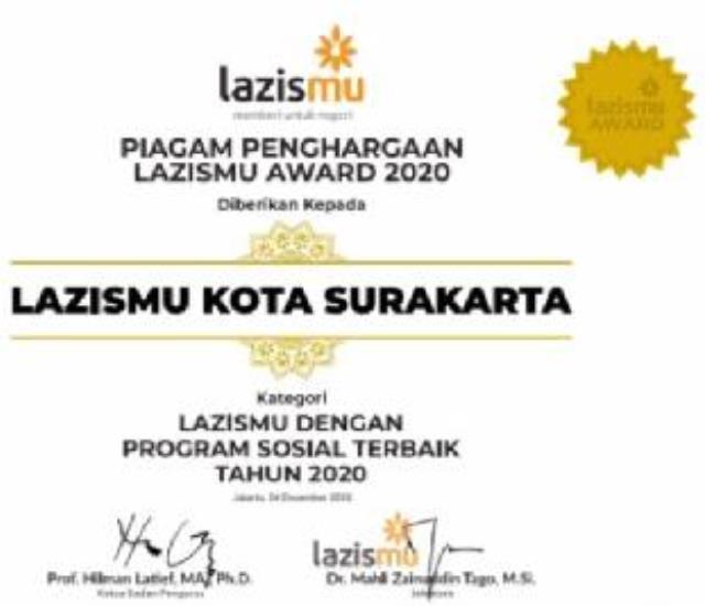 Kiprah Lazismu Solo Berujung Penghargaan Program Sosial Terbaik 2020